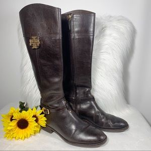 Tory Burch Tall Brown Leather Riding Boots